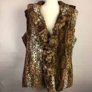 Damselle New York faux fur cheetah vest size XL